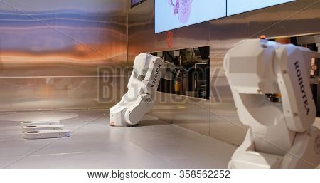 Hong Kong 05 November 2019 : Robotic arm for beverage drink store