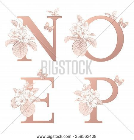 Letters O P N E, Flowers Flowering Sakura Branches, Butterfly Isolated. Vector Decoration. White, Go
