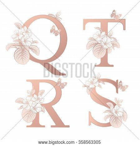 Letters Q T R S, Flowers Flowering Sakura Branches, Butterfly Isolated. Vector Decoration. White, Go