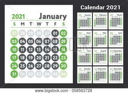 2021 Calendar. New Year Planner Design. English Calender. Green Color Vector Template. Week Starts O