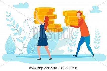 Big Income, Money Metaphor Flat Vector Illustration. Cartoon Couple Carrying Golden Coins, Family Ea