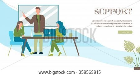 Support Banner. Cartoon Woman In Headset Microphone Answer Client Call Vector Illustration. Online T