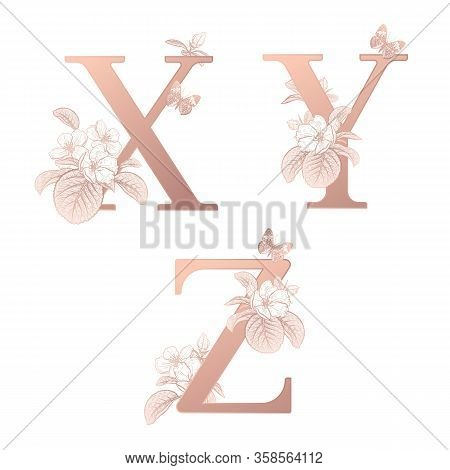 Letters X Y Z, Flowers Flowering Sakura Branches, Butterfly Isolated. Vector Decoration. White, Gold