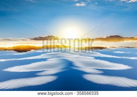 Beautiful Heavenly Landscape With The Sun In The Clouds  . Sunny Weather In Heaven