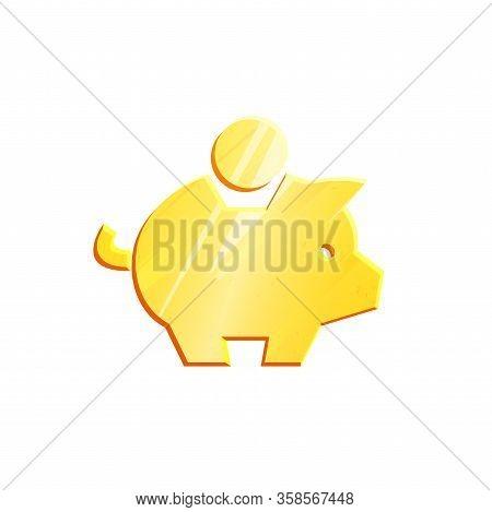 Gold Piggy Bank Savings Symbol. Banking Concept. Money Save Icon. Economic Growth Sign. Cash Income,