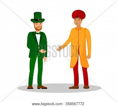 Men From Ireland And India Vector Illustration. Man In Suit And Cylinder Hat And Guy In Turban Carto