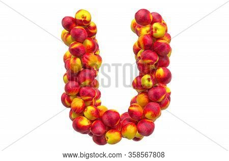 Letter U From Nectarines Or Peaches, 3d Rendering Isolated On  White Background