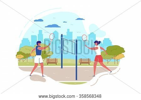 Cartoon People Play Badminton In City Park Vector Illustration. Man Woman With Racquet In Hand Hit S