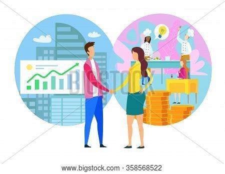 Man Woman Handshake Commercial Partnership Business Center Restaurant Open Vector Illustration. Fina