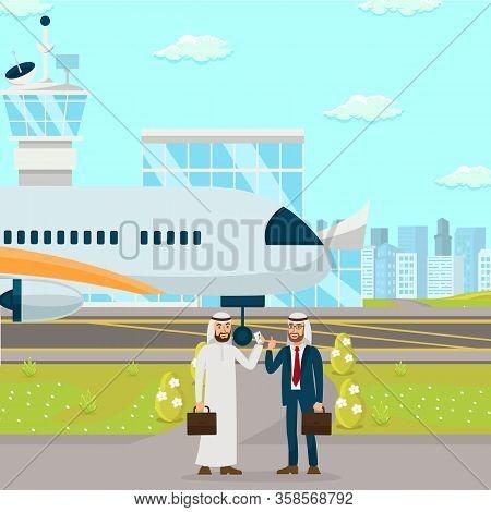 Business Partnership Negotiation Flat Illustration. International Relationship Establishment. Men Di