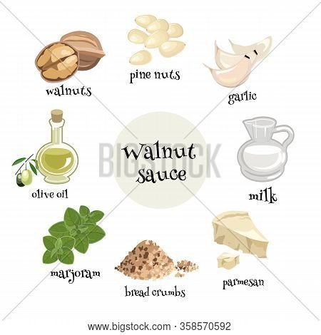 Set Of Italian Walnut Sause Ingredients. Walnuts, Garlic, ,olive Oil, Marjoram, Milk, Parmesan, Brea