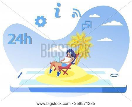 Advertising Flyer Work At Resort Cartoon Flat. Operator Regularly Checks Information On Intranet. Gi