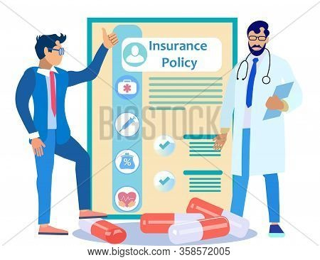 Doctor And Patient On Background Insurance Policy And Medicines. Contract Clause. Vector Illustratio