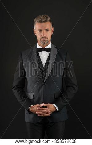 Lets Bachelor Party Begin. Bachelor Man Dark Background. Single Man In Formalwear. Celebrating Bache