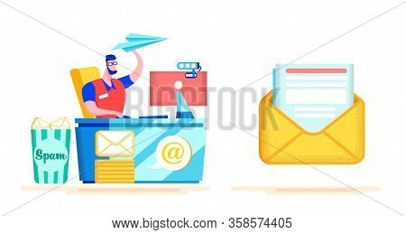 Advertising Poster Spam Protection Cartoon Flat. Automation Process, Design Letters On This Template