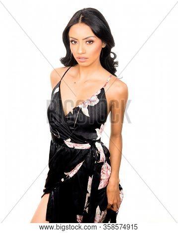 Beautiful elegant young woman wearing dress