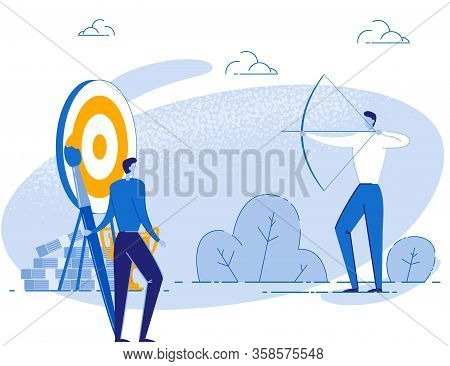 Creative Male Team Leader Aiming Target Cartoon Metaphor. Coworking And Teambuilding. Common Aim And