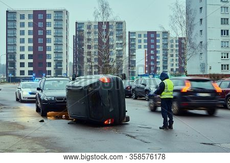 Car Accident On The Slippery Road In November