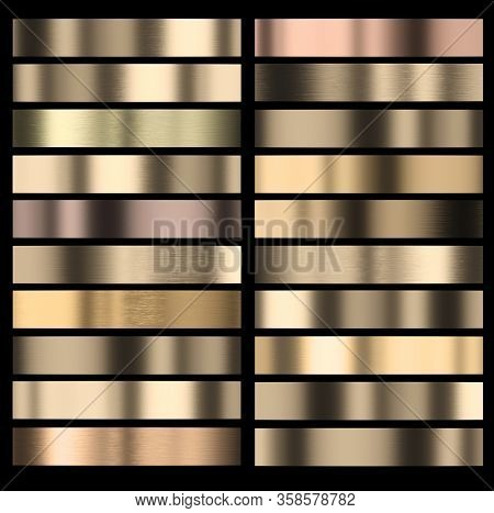 set of gold-colored stripes of different shades with black frames. 3d render background