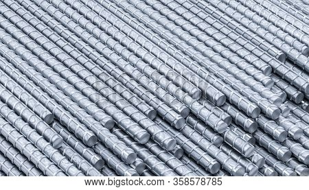 metal rods for building use background 3d render. construction and manufacturing industry concept.