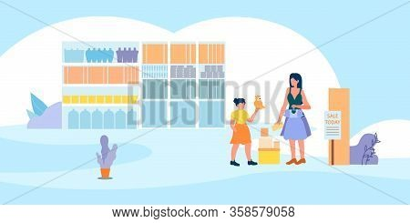 Sale In Mall, Mother And Daughter Visiting Shopping Mall For Buying Goods At Discount Promotion. Wom