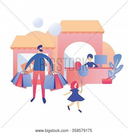 Father With Daughter Leaving Flat Cartoon Shop Mall After Paying For Purchase. Sitting Cashier At Ch