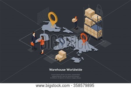 Isometric Warehouse, Maritime And Overland Transport Logistics. Worldwide Delivery And Global Logist