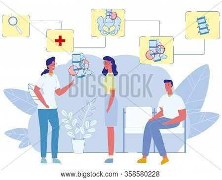 Female Orthopedic Doctor Advising Patient. Man And Woman At Professional Medic Worker Appointment In