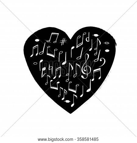 Heart Shape Filled With Hand Drawn Music Notes As Symbol Of Love To Rhythm, Songs And Concerts. Vect