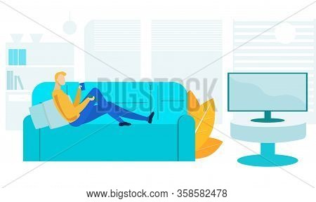 Guy Watching Television Flat Vector Illustration. Lazy Person, Introvert Cartoon Character. Young Ma