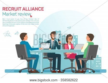Labour Market Review Flat Vector Banner Template. Recruiting Alliance Job Search Services Advertisin