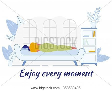 Inspirational Poster With Cartoon Woman Characters Resting At Home, Sleeping On Comfortable Sofa In