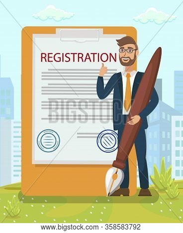 Legal Document Stamping Flat Vector Illustration. Registration, Contract, Agreement, Business Inspec