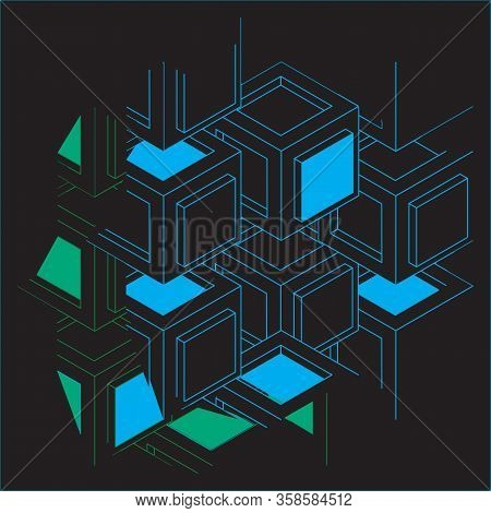 Fragment Of Decorative Color Grid Or Wall. Pattern With Carved Rounded Shapes. 3d Sample Design. Abs