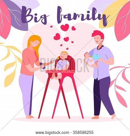 Mom And Dad Spend Time With Kids Feeding Baby Son Or Daughter With Spoon. Mother Giving Healthy Food