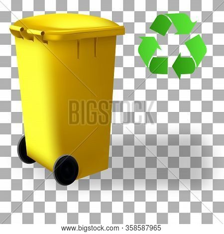 Trash Recycled Container. Isolated On Background. Street Trash Bins. Colorful Dustbin. Set Of Sortin