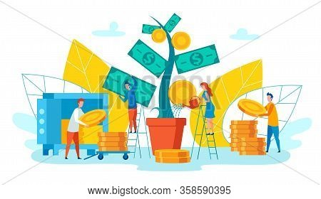 Team Employees Collects Income Vector Cartoon. Woman Is Watering Large Plant On Which Gold Coins Gro
