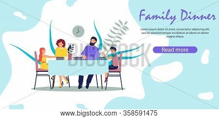 Breakfast Or Supper Meal Happy Parents With Kids. Mother, Father, Daughter And Son Sitting At Table