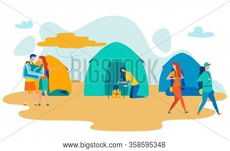 African Desert Campsite Flat Vector Illustration. Backpackers Group Relaxing In Tents, Cooking Food