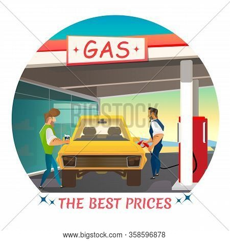 Best Prices For Gas Station Service Advertising Round Poster With Promotion Lettering. Cartoon Male