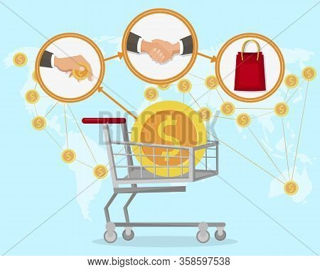 E-commerce Profit, Income Flat Vector Illustration. E-trade Industry, Internet Store Buying Stages.