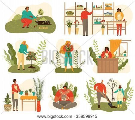 Farming And Gardening Harvest Set Of People At Work On Farm And Garden, Plants And Flowers Isolated