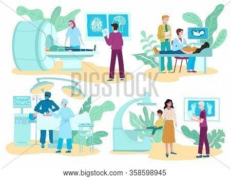 Surgery Medicine And Diagnostic Procedures, Medical Treatment, Set With Surgeon Doctors Consultation