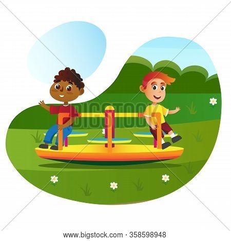 Happy Cartoon Children On Playground Roundabout Carousel Vector Illustration. Boy Friends On Merry-g