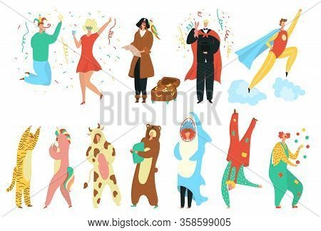 Party Costumes People Set, Happy Men And Women Dressed In Carnival Costumes For Masquerade, Holiday