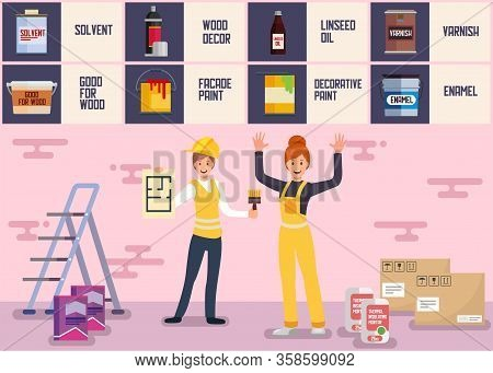 House Painter And Plasterer Team Service Banner Female Team Designers Offering Help Facade Painting