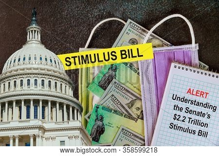 Stimulus Checks Washington Dc Capitol Dome With Global Pandemic Covid 19 Lockdown Coronavirus Stimul