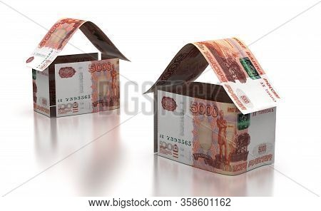 Real Estate With Russian Ruble (isolated On White Background)  3d Rendering