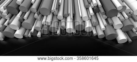 Plastic Rods On Dark Background 3d Rendering