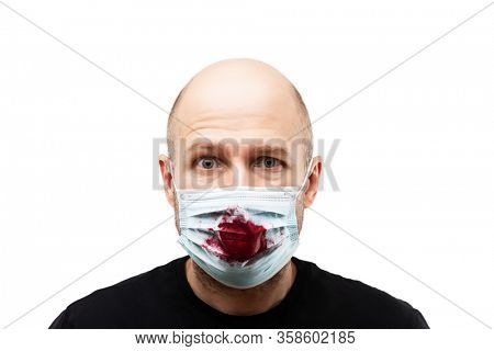 Human population virus, infection, flu disease prevention and industrial exhaust emissions protection concept - bald head man wearing respiratory protective medical mask cough blood white isolated
